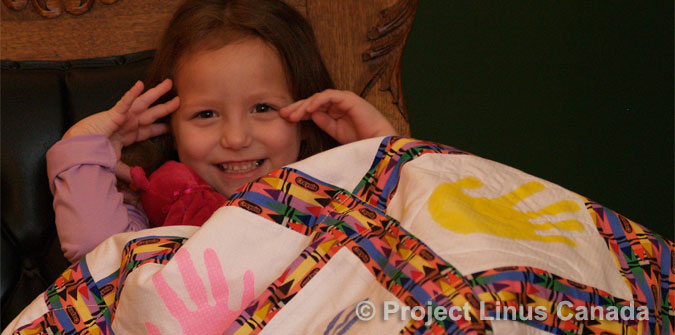 >Click to learn how you can help ... such as making and donating a blanket ...